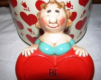 Valentine Love Full Figure, Be Mine, Heart, Big Heart, 1973 Made by Helen, Busty, Full Busted Grandma, Well endowed Bosom, Breast