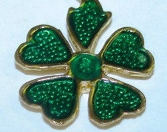 Irish Jewelry 5 Leaf Clover Good Luck Charm, Pendant, Saint Patricks Day, Green, Charm Bracelet Lucky Charms  souvenir collectible