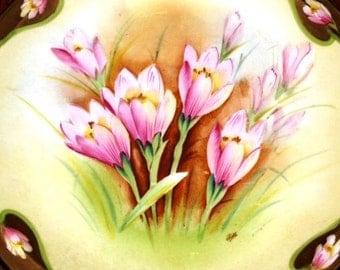 Spring 1920's Pink Flowers, Hand Painted Prussia Royal Rudolstadt Flowering Crocus Plate, Kahl, Art Nouveau, Beyer & Bock circa 1905 - 1931