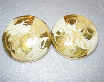 Vintage Butterscotch Swirl Gold Clip On Earrings, Swirls Mother's Day Gift 76f