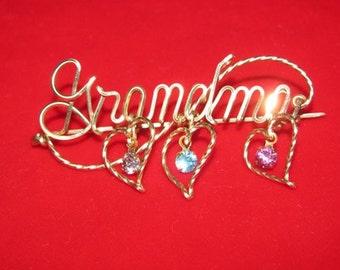 Vintage Grandma Gold Pendant, Rhinestone Hearts, Wire pin, Victorian Style, Grandma Brooch