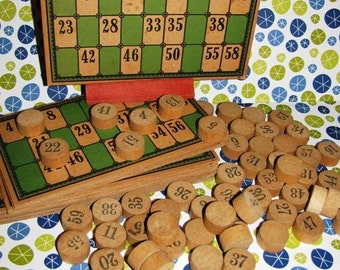 Vintage Bingo Cards and Wooden Chips, Vintage Bingo Cards and Wood Chips, Perfect for your craft project, jewelry making, Games, Toys