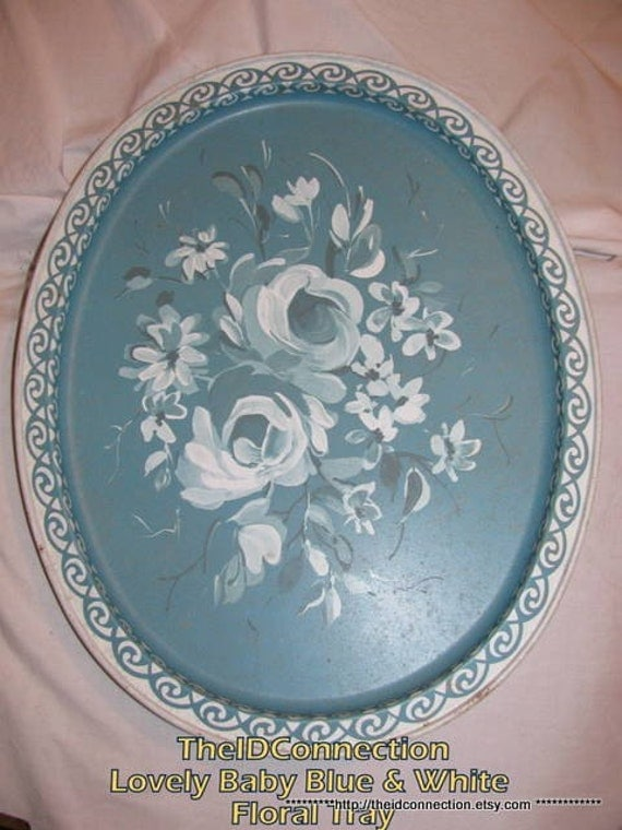 Vintage Tin Tray, Baby Blue and White, English Tea Time, Floral, Victorian, Circa, Art Deco, Aristocracy Tea Party Serving Tray