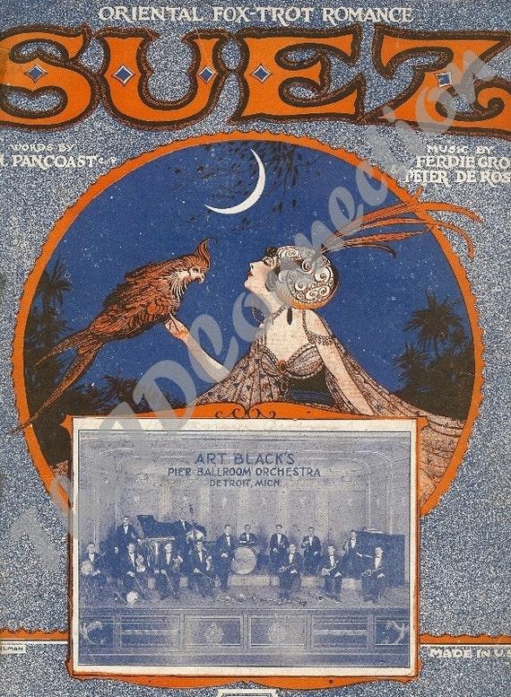 vintage 1923 art deco oriental fox trot romance suez by. Black Bedroom Furniture Sets. Home Design Ideas