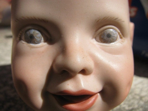 Baby Doll Head Blue Eyed Porcelain Victorian By