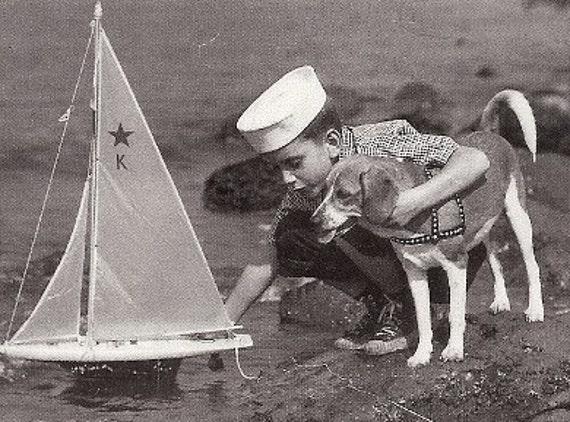 Vintage 1950's B&W Photograph Post Card, sailing Sailboat, Boy, Dog, Puppy, Sailor, retro 50's nautical  Photo by Armstrong Roberts