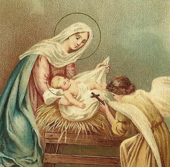 Vintage prayer card baby jesus in the manger italian prayer card