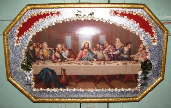 Vintage 1940 S Jesus Christ Amp Disciples Last Supper In
