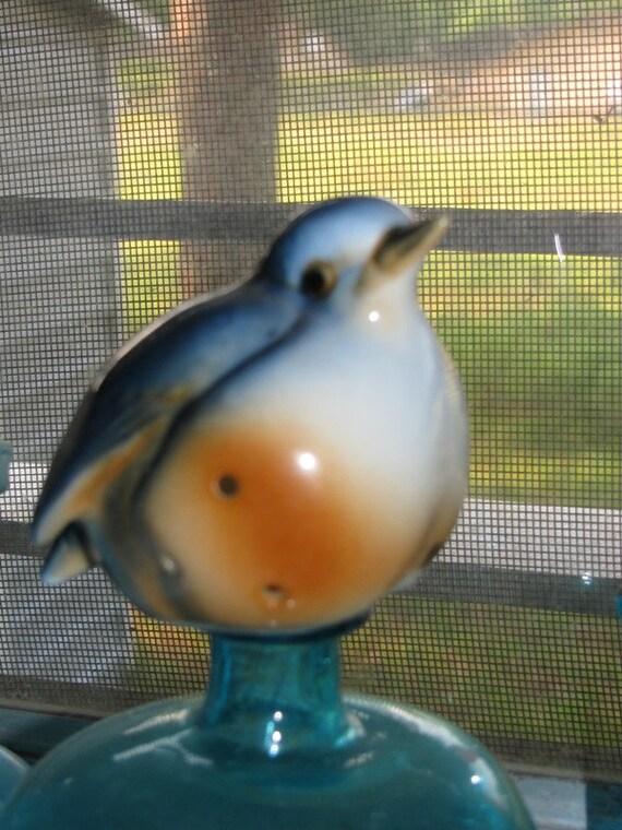 Vintage Bone China Blue Bird of Happiness & Joy Ardalt China, Sachet Figurine, Porcelain, Powder, Taiwan ROC, Dresser Drawer Sachet