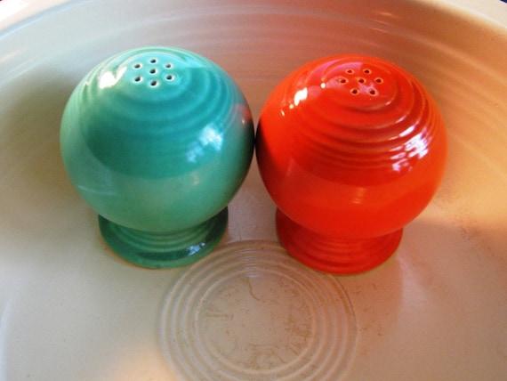 Fiesta 1950's Vintage  Salt & Pepper Shakers, Vibrant Orange Teal, Retro Bright Colors, classic 50's kitchenware Antique Americana