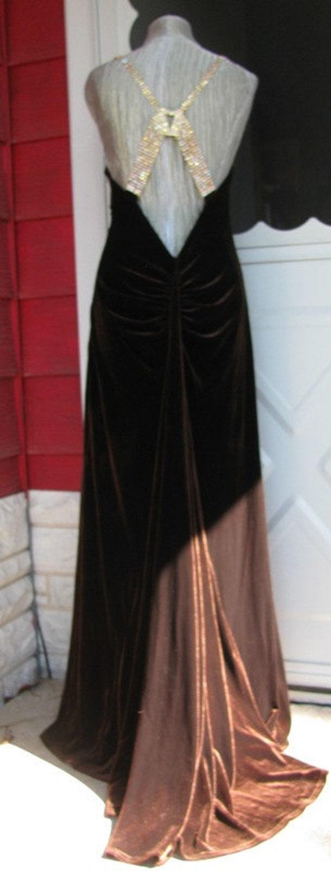Vintage Jessica McClintock Brown Rhinestone  Size 12, Stretch, Rainbow Rhinestones, Elegant, Dance, Prom, Homecoming26c