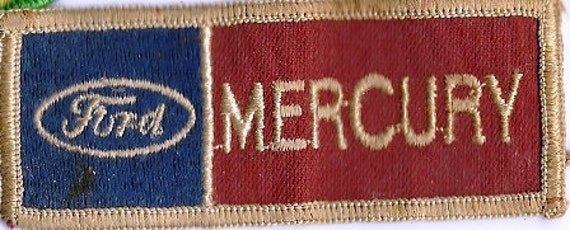Vintage Ford Mercury Patch, Red White and Blue, Car Patch, Race Car Patch, Sewing Patch
