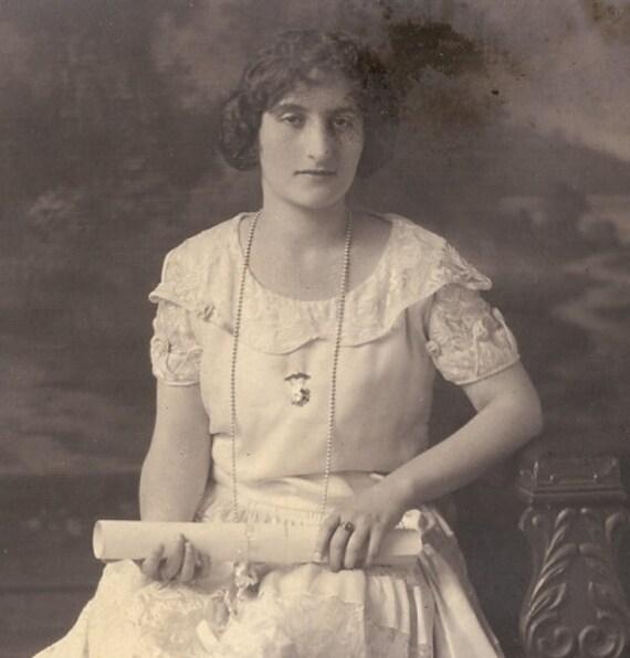 Galveston Gal Vintage 1920's B&W Photograph, Lenora Dorian,Texas Socialite, Graduation Photo, Piano Teacher retro Texan Pianist Texana