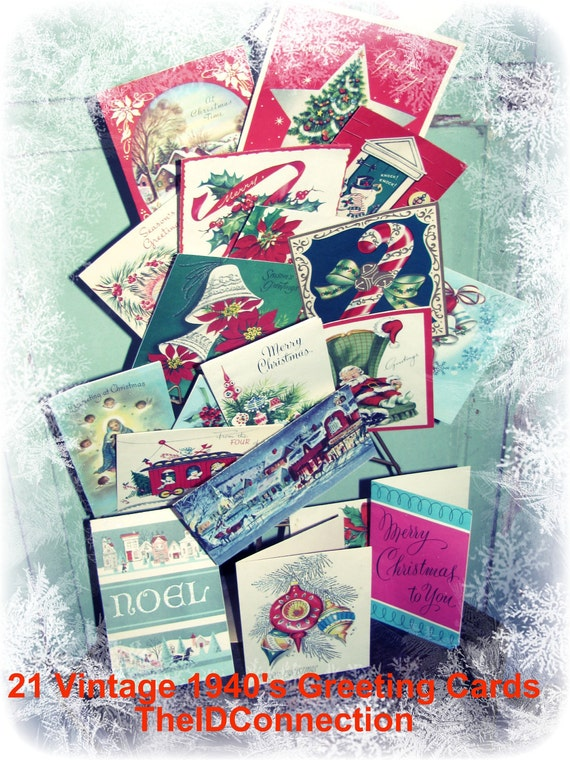 Vintage 1940's Christmas Greeting Cards, Holiday Artwork,  Christian Religious Faithful American pure Americana 21 cards, Lot 4