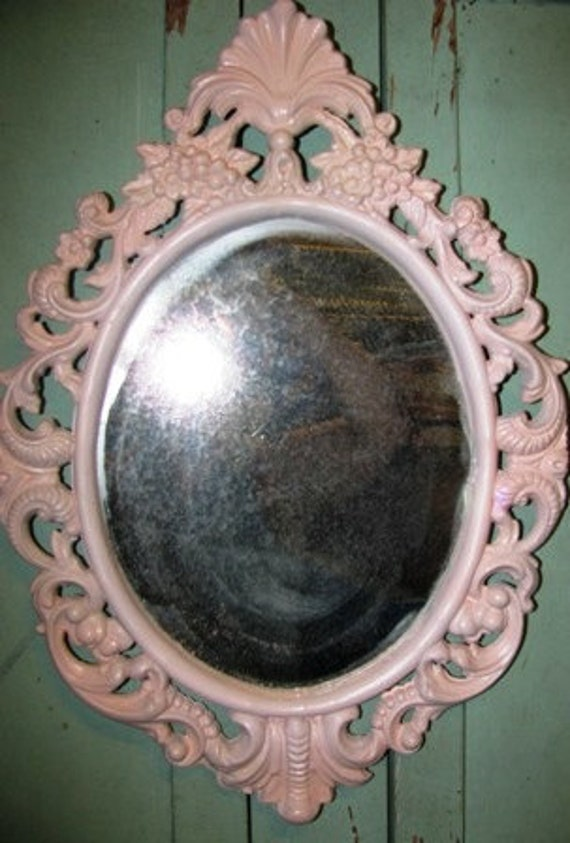 Valentine Mirror, pastel Pink 1960's vintage Shabby Chic, Dainty Delicate, Ornate, Wall Decor, Vanity MIrror