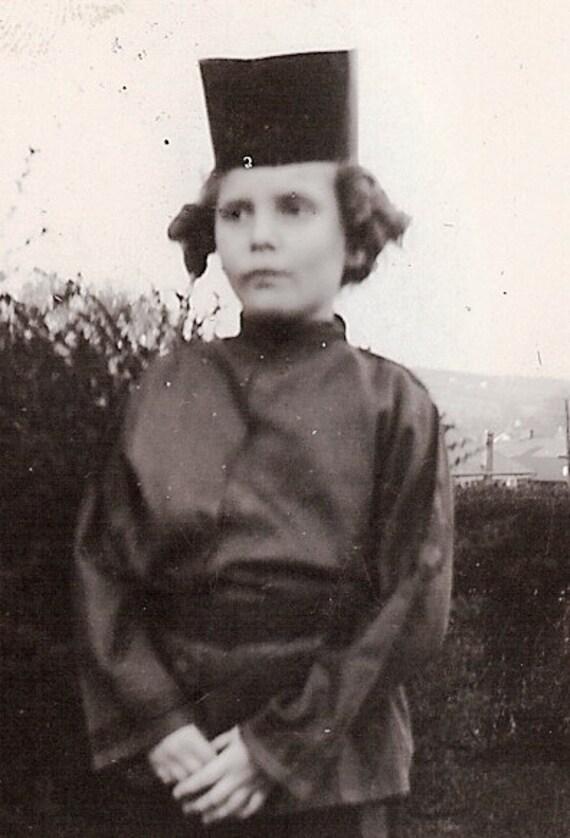 1944 B&W Photograph, Girl, Mary Jane Collection, Halloween Costume, Geisha Girl, Oriental Girl, 2nd Grade
