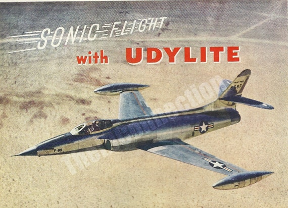 Lockheed Heavyweight Fighter Jet, Plane, Military 1951 Fortune Magazine Advertisement, Retro 1950's, Udylite Corporation, Aircraft Engines