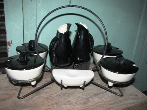 Lazy Susan, 1940's Black & White Condiment Service, Oil Vinegar, Salad Fixings, Salt and Pepper, Retro, Mod 73i