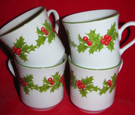 Egg Nog Mugs, Brazil, Porcelain by Schmidt, Festive Coffee Mugs, Cups ...