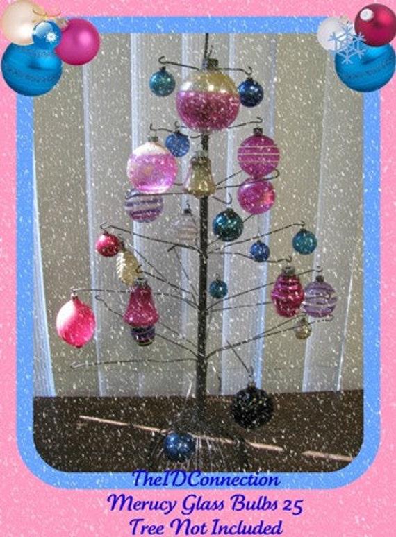 1950's Glass Ornaments, Pretty Pink & Blue Bulbs, Space Age, Mercury Bulbs, X-Mas Tree Decorations, Atomic Holiday  Lot 11 88H