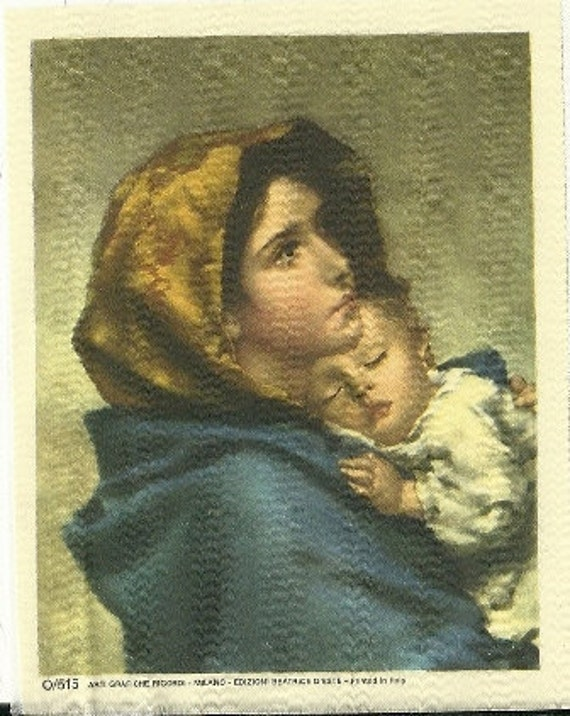 1970's Silk Miniature, Printed in Italy, Arti Grafiche Ricord, MIlano Edizioni, Beatrice D Este, Italian Silk, Mother & Child