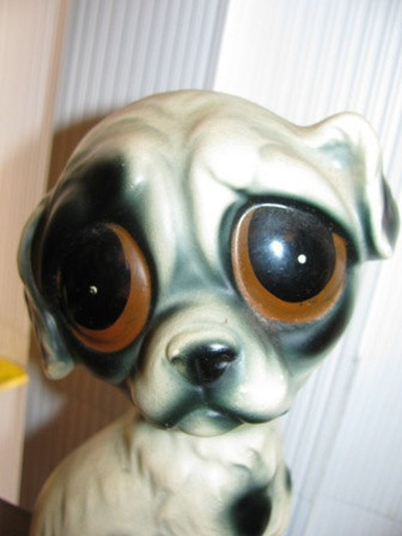 Vintage Big Eyed Puppy Dog Figure Ceramic Hound Dog Brown