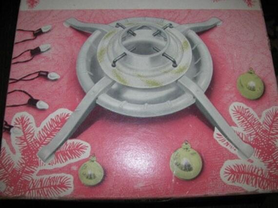 1960's Christmas Tree Stand, original box retro 60's Holiday nostalgia, Deluxe Tree Stand, White