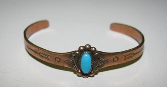 Jewelry 1980's Vintage Copper Childs Turquoise Bracelet, Jewelry for Children, Little Girls Bracelet natural healing for good health