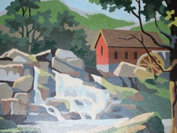 1962 Paint by Number Country Farm, Barn, Rolling Brook, Water,  Primitive, Art Work, Wall Decor, Folk Art