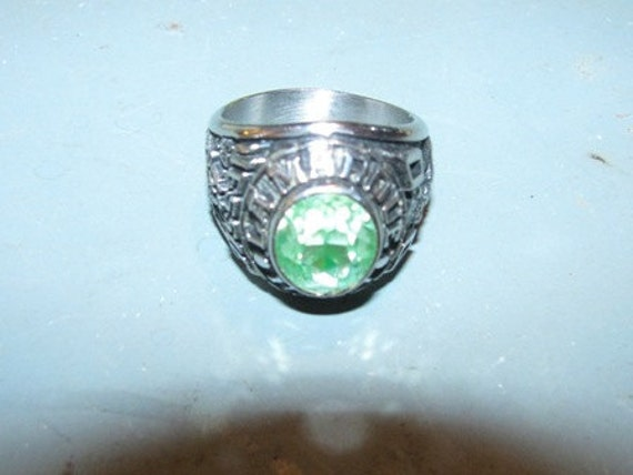 Jewelry Class Ring La Marque High School Green Gem, Faux Gemstone Man's Ring Student Texan authentic Texas collectible Texana Jeweler Artist