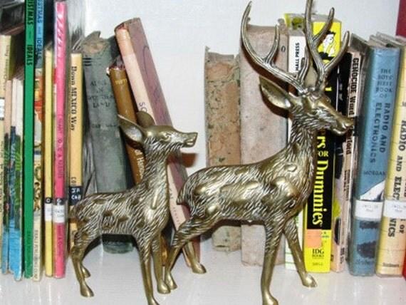 Vintage Brass Deer, Doe Figurines, Bambi, Reindeer, Christmas Decorations, Fireplace Mantle Decor