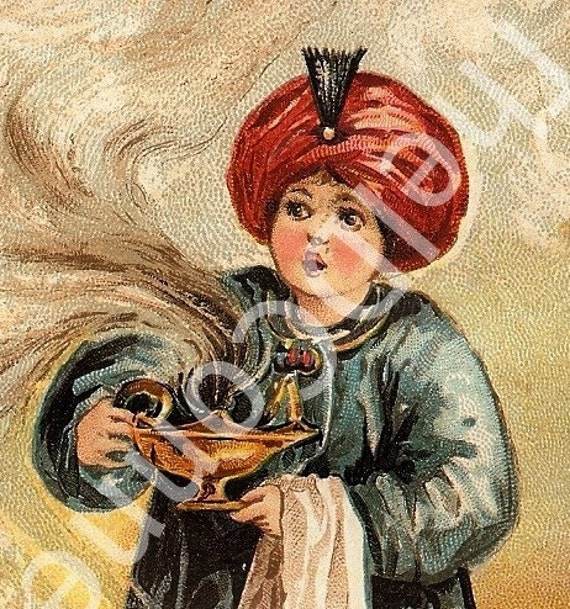 1894 Victorian Trade Card, Victorian Aladdin of the Wonderful Lamp, Fairy Tale, ast Litho, New York & Chicago