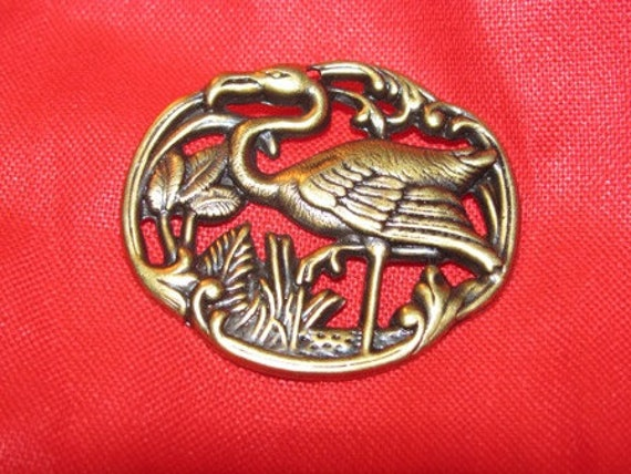 Vintage Brass Flamingo Pendant, Embellishment, Art Deco Style, Tropical Bird 41b