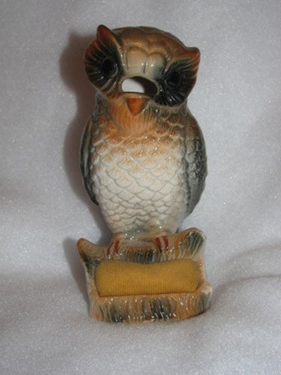 Vintage Owl Pin Cushion, Scissor Holder, Hooters Owl, Porcelain Bird 44c