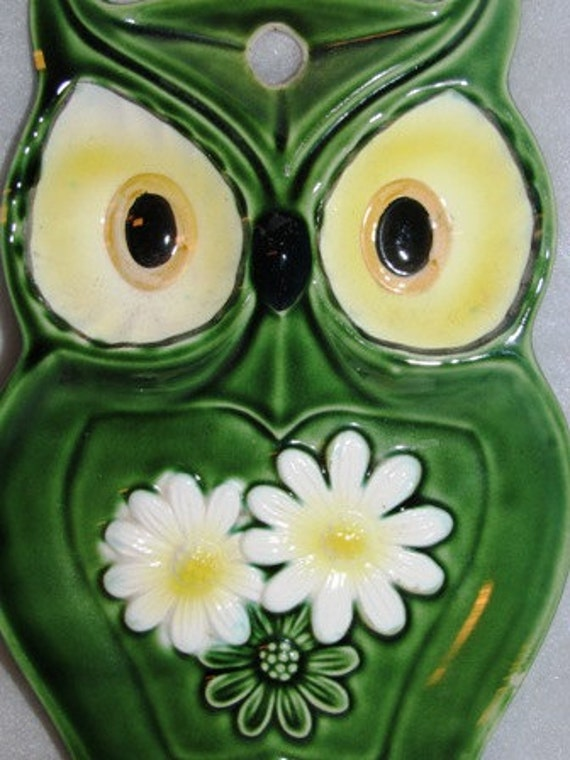 Vintage Owl Spoon Plate, Utensil holder, Hooters, Hoot, Owl, Daisy Flower Retro Kitchenware 10f