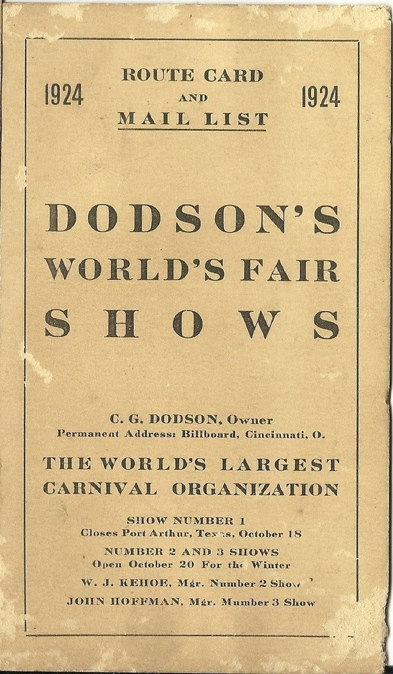 1924 Dodson's World's Fair Shows Event Card, Route Card and Mail List, Minstrel Show, Land of Oz, Ferris Wheel 70H