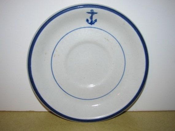 US Navy Mess Wardrobe Saucer by Shenango Blue Anchor, Sailor, Nautical 48G