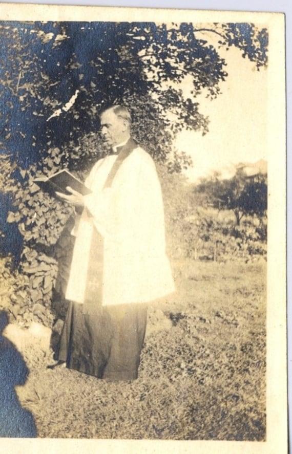 Vintage Catholic, Methodist Preacher, Funeral, Black and White Photograph, Funeral, Pastor, Religious, Funeral, Priest, Galveston Texas Coll