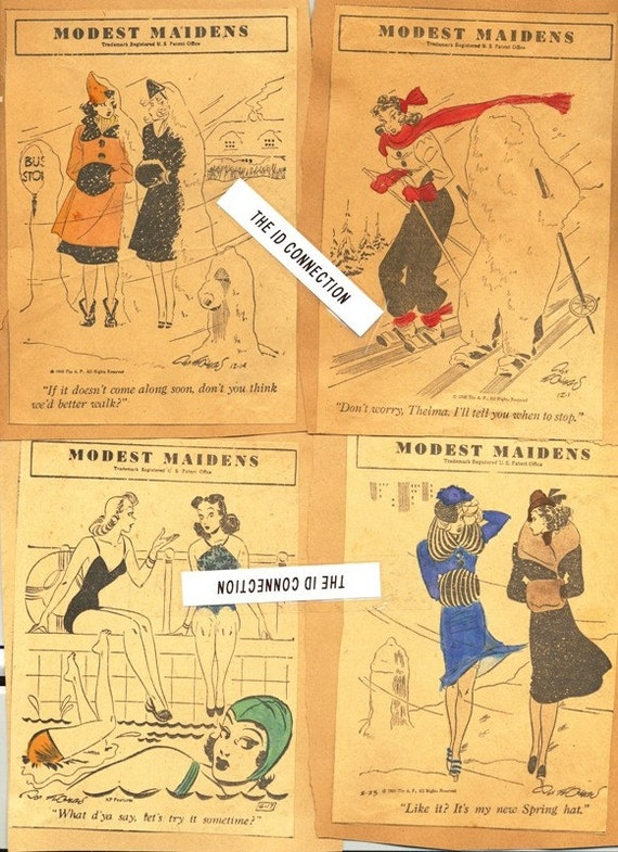 PIN-UP GIRL, FLAPPER, 1930's and 1940's Modest Maidens and Flapper Fanny News Paper Comic Strips, Pin-up Girls, Flapper Lot 3