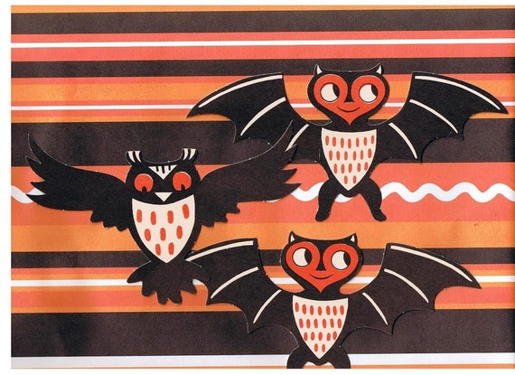 1960's Halloween Owl & Bat  Wall Decor, Color Copy, Halloween Collectibles, Up Cycled, Retro Halloween Decorations