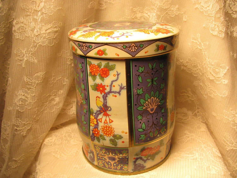 Vintage Tea Tin Great Britan English Tea Tin Floral