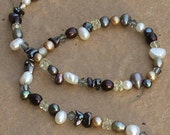 Autumn Pearls and Crystals - Necklace