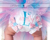 COTTON CANDY Baby Bloomers with Monogram Initial and Name Diaper Covers