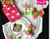 Monkey Love Custom Applique Baby Bloomer Diaper Cover with Personalized Bodysuit Girls Onesie Set Includes Leg Warmers