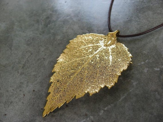 Real Leaf Pendant - 24k Gold - Birch