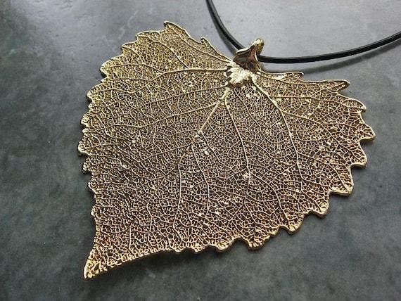 Real Leaf Pendant Necklace - Cottonwood - 24k Gold
