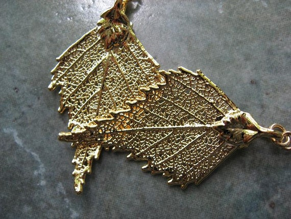 Real Leaf Earrings - 24k Gold - Birch