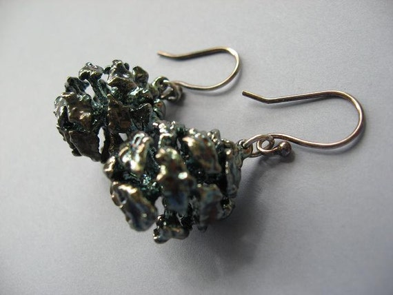 Real Redwood Cone Earrings - Oxidized Sterling Silver