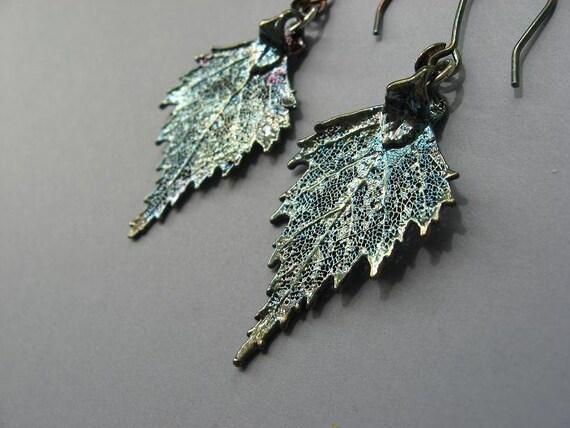 Real Leaf Earrings - Oxidized Silver - Birch
