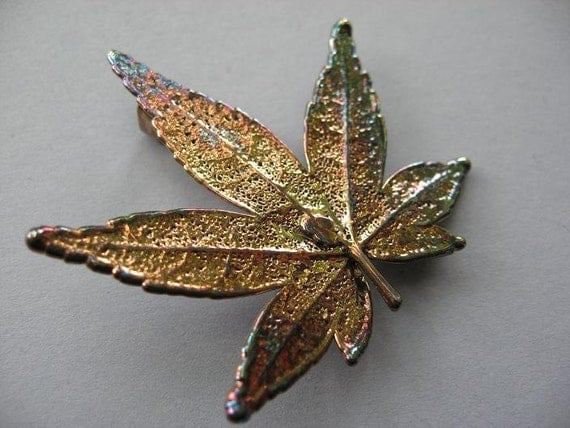 Real Leaf Brooch Pin and Pendant  - Japanese Maple - Oxidized Sterling Silver